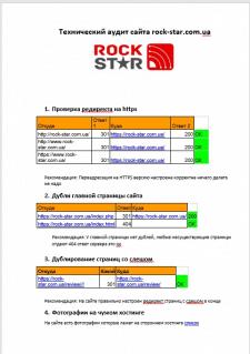 Технический аудит музыкального ИМ rock-star.com.ua