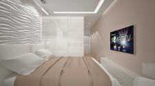 Спальня с 3d панелью