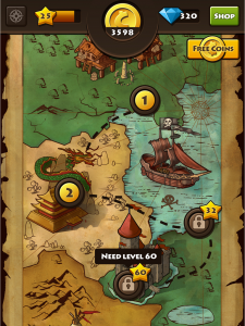 """A map fro the Facebook Game """"The Lost Coin"""" by Mur"""