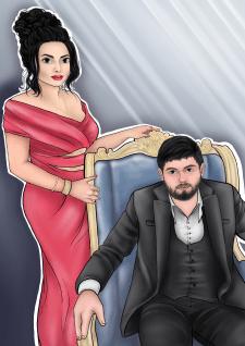 Портрет пары в авторском стиле.