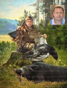 Портрет охотника под масляную живопись