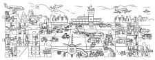 Раскраска - плакат. Виммельбух. Аэропорт