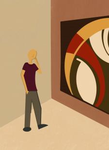 Мужчина в галерее.