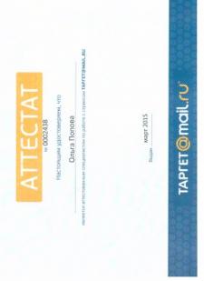 Сертификат специалиста по TARGET@MAIL