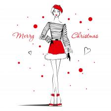 """Векторна фешн ілюстрація """"Merry Christmas"""""""