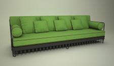 3Д диван зеленый в восточном стиле
