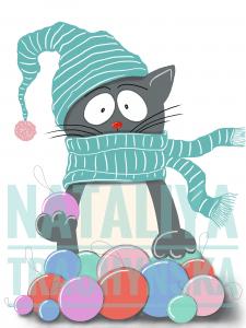 Новогодние иллюстрации,  «Кот»