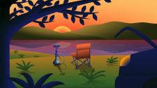 Отдых с кальяном на закате