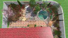3-d визуализация зоны водоёма с купелью