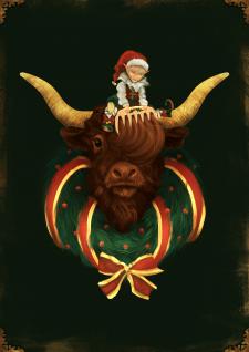 Новогодняя иллюстрация Эльф и бычок
