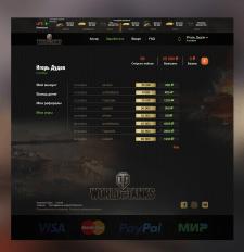 Дизайн для танков WOT Личный кабинет (мои игры)