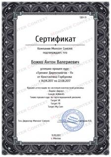 Сертификат о прохождении тренинга по Рекламе......