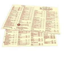 Меню для кафе Le Grand