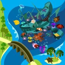 Море Фрагмент карты Вектор