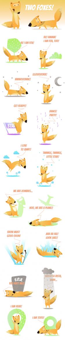 Два веселых лиса. Стикеры