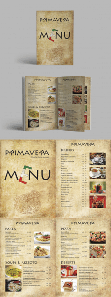 Дизайн меню для итальянской пиццерии PRIMAVERA