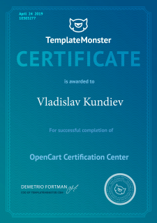Сертификат от TemplateMonster (Opencart)