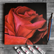 картина маслм троянда