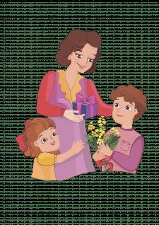 двоє дітей дарують мамі подарунки на день матері