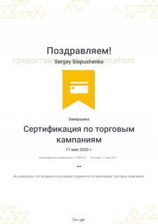 Сертификация Google Рекламы по торговым кампаниям