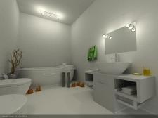 3д рендер ванной комнаты для загородного дома