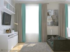 Гостиная с кухней и спальным местом