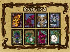Карточки Монстров  Creepy funny monsters