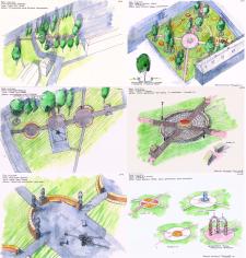Парк Победы, реконструкция двух скверов, эскиз
