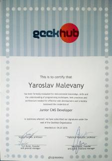 Сертификат GeekHub Advanced CMS 4-сезон