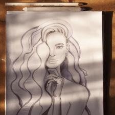 Fashion портрет, рисунок карандашом от руки