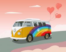 Vintage hippy bus