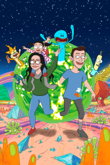 Портрет семьи в стиле мультфильма Rick and Morty