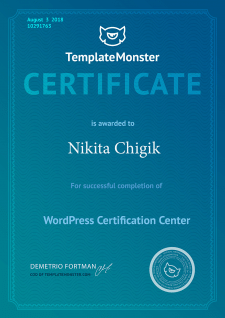 Сертификат по CMS WordPress от TemplateMonster