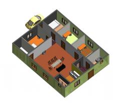 3d модель частного дома (вид 3) в Ревит 2014