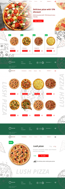 Дизайн сайта для компании доставки пицци