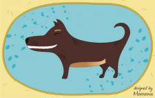 Собака в наивном стиле