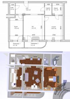 Вариант зонирования пространства с расстановкой