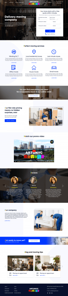 Дизайн сайта компании - оранизатора переездов