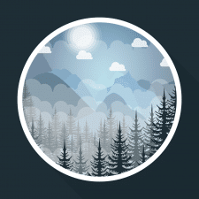 "Time for illustration ""Mountains and forest"""
