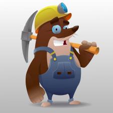 cartoon cute mole miner