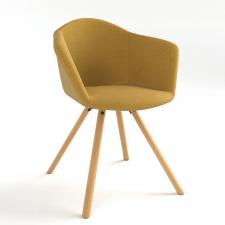 Armchair fauteuil de table yellow mustard