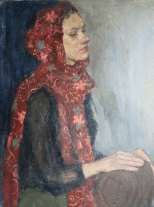 Dreamer in red scarf