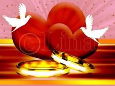 Кольца сердца и два голубка