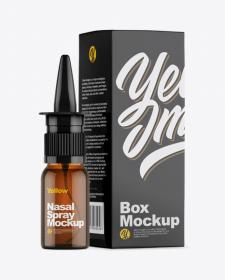 Spray Bottle & Glossy Box Mockup
