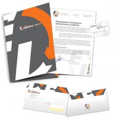 Дизайн корпоративных элементов: папки, фирменного бланка, визитк