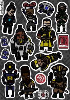 stickers characters from the computer game Apex l