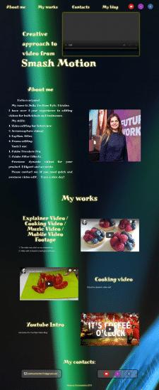 Сайт-портфолио инженера видеомонтажа