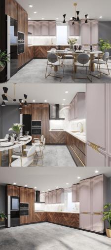 Дизайн кухни. Вариант цветового решения фасадов 1