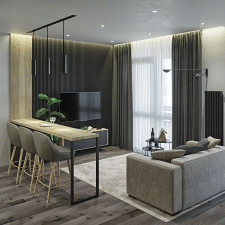 Дизайн интерьера однокомнатной квартиры 40 кв. м