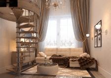гостиная в малометражной 2хуровневой квартире